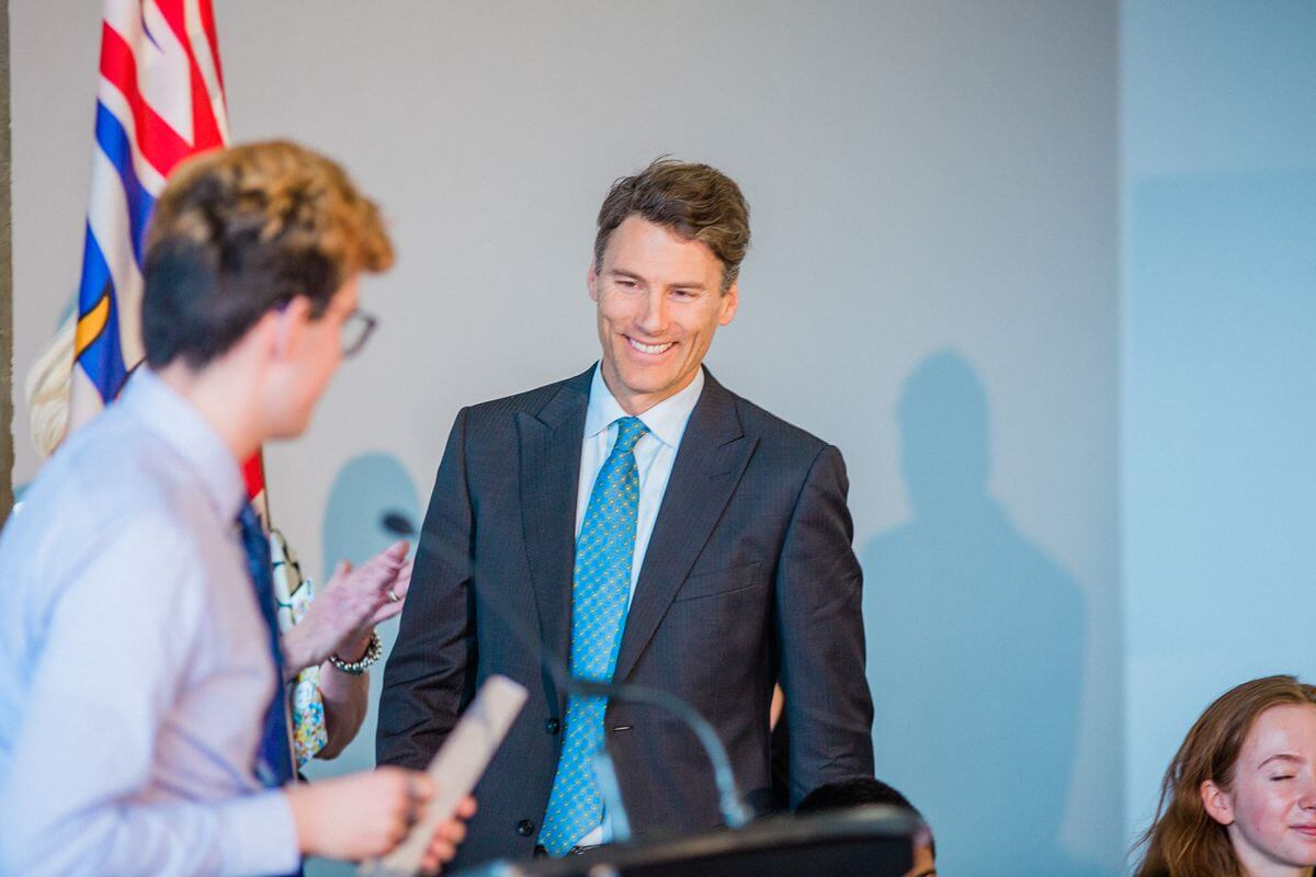 Gregor Robertson speaking at a corporate event