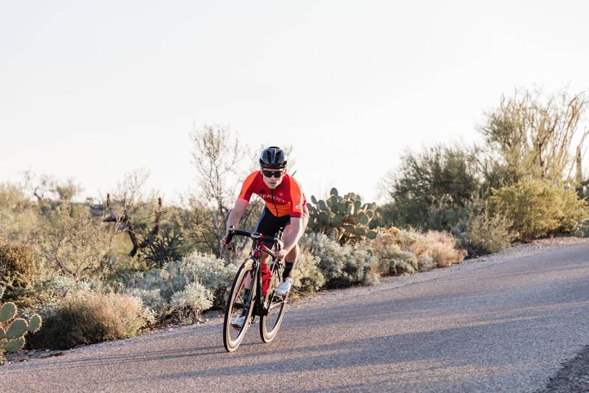 Cyclist riding in Arizona